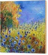Orange Tree And Blue Cornflowers Wood Print by Pol Ledent