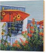 Orange Umbrellas Wood Print by Candy Mayer
