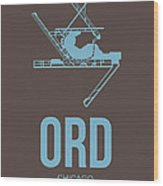 Ord Chicago Airport Poster 2 Wood Print by Naxart Studio