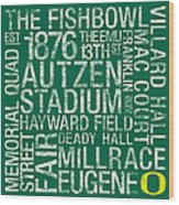 Oregon College Colors Subway Art Wood Print by Replay Photos