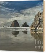 Oregon Sea Stack Reflections Wood Print by Adam Jewell