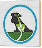 Organic Farmer Shovel Plant Circle Wood Print by Aloysius Patrimonio