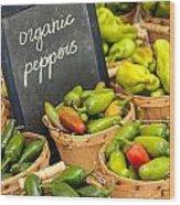 Organic Peppers At Farmers Market Wood Print by Teri Virbickis