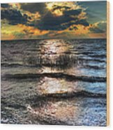 Outer Banks - Radical Sunset On Pamlico Wood Print by Dan Carmichael