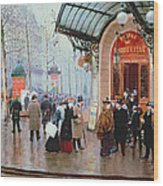Outside The Vaudeville Theatre Wood Print by Jean Beraud
