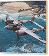 P-38 Lightning Battle Axe Wood Print by Mark Karvon