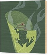 Pacific Tree Frog In Skunk Cabbage Wood Print by Nathan Marcy