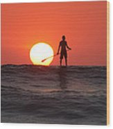 Paddle Board Sunset Wood Print by Nathan Miller