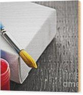 Paintbrush On Canvas Wood Print by Elena Elisseeva