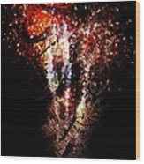 Painted Fireworks Wood Print by Andrea Barbieri