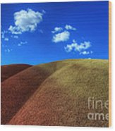 Painted Hills Blue Sky 1 Wood Print by Bob Christopher
