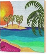 Palm Trees Across The Water Wood Print by Geree McDermott