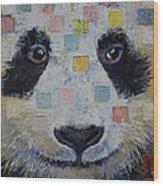 Panda Checkers Wood Print by Michael Creese
