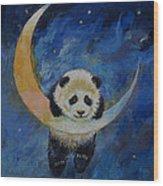 Panda Stars Wood Print by Michael Creese