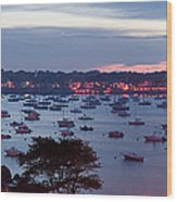 Panoramic Of The Marblehead Illumination Wood Print by Jeff Folger