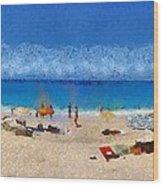 Panoramic Painting Of Porto Katsiki Beach Wood Print by George Atsametakis