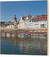 Panoramic View Of Historic Lucerne Wood Print by George Oze