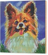 Papillion Puppy Wood Print by Jane Schnetlage