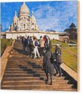 Paris - The Long Climb To Sacre Coeur Wood Print by Mark E Tisdale