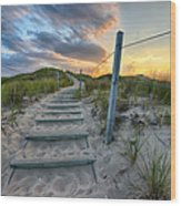 Path Over The Dunes Wood Print by Sebastian Musial
