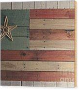 Patriotic Wood Flag Wood Print by John Turek