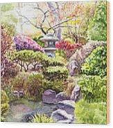 Peaceful Garden Wood Print by Irina Sztukowski