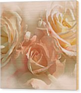 Peach Roses In The Mist Wood Print by Jennie Marie Schell
