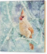 Peaches In The Snow Wood Print by Amy Tyler