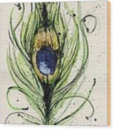 Peacock Feather Wood Print by Mark M  Mellon
