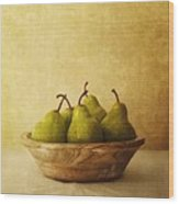 Pears In A Wooden Bowl Wood Print by Priska Wettstein