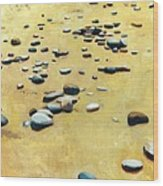 Pebbles On The Beach - Oil Wood Print by Michelle Calkins