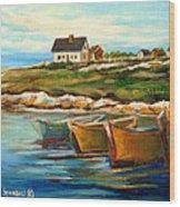 Peggys Cove With Fishing Boats Wood Print by Carole Spandau