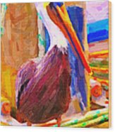 Pelican On The Dock Wood Print by Wingsdomain Art and Photography