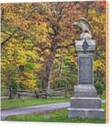 Pennsylvania At Gettysburg - 115th Pa Volunteer Infantry De Trobriand Avenue Autumn Wood Print by Michael Mazaika