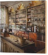 Pharmacist - The Dispensatory Wood Print by Mike Savad