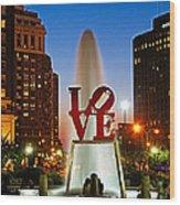 Philadelphia Love Park Wood Print by Nick Zelinsky