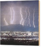 Phoenix Arizona City Lightning And Lights Wood Print by James BO  Insogna