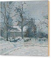 Piettes House At Montfoucault Wood Print by Camille Pissarro