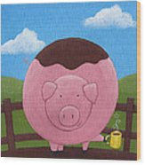 Pig Nursery Art Wood Print by Christy Beckwith