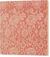Pink And Rose Wallpaper Design Wood Print by William Morris