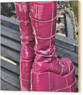 Pink Boots Wood Print by Jasna Buncic