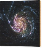 Pinwheel Galaxy Rainbow Wood Print by Adam Romanowicz