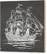 Pirate Ship Artwork - Gray Wood Print by Nikki Marie Smith