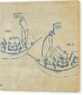 Pirate Ship Patent Artwork - Vintage Wood Print by Nikki Marie Smith