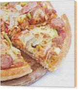 Pizza Wood Print by Anek Suwannaphoom