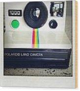 Polaroid Camera.  Wood Print by Les Cunliffe