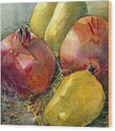 Pomegranates And Pears Wood Print by Jen Norton