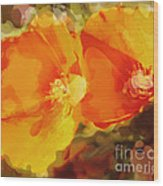 Poppies On Fire Wood Print by Artist and Photographer Laura Wrede
