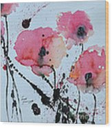Poppies- Painting Wood Print by Ismeta Gruenwald