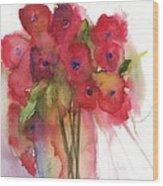 Poppies Wood Print by Sherry Harradence